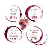Tipo progettazioni del vino dell'acquerello Immagini Stock Libere da Diritti