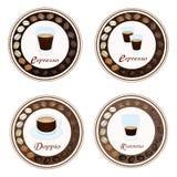 Tipo quattro di caffè caldo nella retro etichetta rotonda Immagini Stock Libere da Diritti
