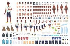 Tipo sull'animazione di vacanza o sul corredo di DIY Raccolta degli elementi turistici maschii del corpo, gesti, vestiti, attrezz illustrazione di stock