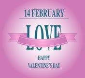 Tipo tarjeta del día de San Valentín caligráfica del día de tarjeta del día de San Valentín del texto Fotografía de archivo libre de regalías