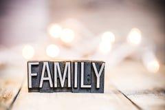 Tipo tema de la prensa de copiar del vintage del concepto de familia Fotografía de archivo