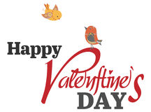 Tipo texto del día de tarjeta del día de San Valentín con dos pájaros Imágenes de archivo libres de regalías