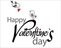 Tipo texto del día de tarjeta del día de San Valentín con los pájaros y los corazones Fotografía de archivo
