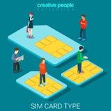 Tipo vettore isometrico piano 3d delle chip card del telefono di dimensione della carta SIM Fotografia Stock