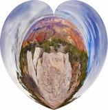 Tipo vista di panorama in una forma del cuore Fotografie Stock Libere da Diritti