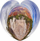 Tipo vista do panorama em uma forma do coração Fotos de Stock Royalty Free