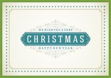Tipográfico retro e ornamento do Natal Foto de Stock