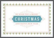 Tipográfico retro e ornamento do Natal Fotos de Stock Royalty Free