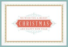 Tipográfico retro e ornamento do Natal Imagens de Stock