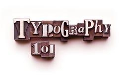 Tipografía 101 Fotos de archivo libres de regalías