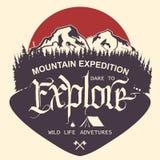 Tipografía al aire libre de la expedición de la montaña libre illustration