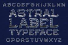 Tipografía astral de la etiqueta Alfabeto inglés aislado ilustración del vector