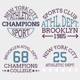 Tipografía atlética del logotipo del nyc, gráficos de la camiseta Illustrat del vector Imagenes de archivo