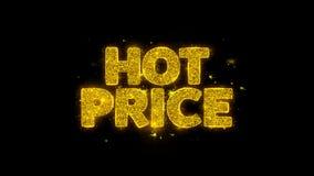 Tipografía caliente del precio escrita con los fuegos artificiales de oro de las chispas de las partículas