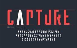 Tipografía cosechada, sistema de letras mayúsculas y números, alfabeto libre illustration