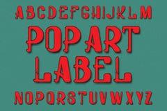 Tipografía de Art Label del estallido Fuente retra Alfabeto inglés aislado ilustración del vector