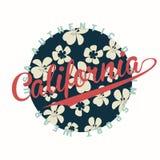 Tipografía de California para la impresión de la camiseta con las flores libre illustration