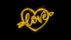 Tipografía de día de San Valentín del corazón del amor escrita con los fuegos artificiales de oro de las chispas de las partícula ilustración del vector