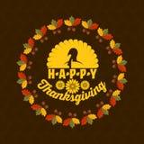 Tipografía de la acción de gracias Texto maravillosamente adornado del día de fiesta con los elementos del otoño ilustración del vector