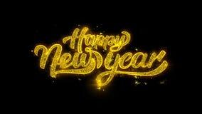 Tipografía 2019 de la Feliz Año Nuevo escrita con la exhibición de oro de los fuegos artificiales de las chispas de las partícula stock de ilustración
