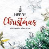 Tipografía de la FELIZ NAVIDAD Y de la FELIZ AÑO NUEVO, texto con el ornamento de la Navidad Foto de archivo libre de regalías