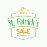 Tipografía de la insignia del texto de la venta de la oferta especial del día del ` s de St Patrick - vector eps8 Imagen de archivo libre de regalías