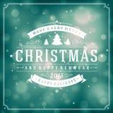 Tipografía de la Navidad y fondo retros de la luz Fotografía de archivo
