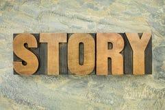 Tipografía de la palabra de la historia Imagen de archivo
