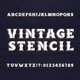 Tipografía de la plantilla del vintage Fuente retra del alfabeto en un fondo de madera ilustración del vector