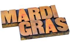 Tipografía de la prensa de copiar de Mardi Grass Imagen de archivo libre de regalías