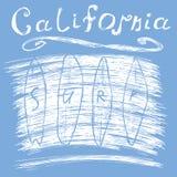 Tipografía de la resaca de California, gráficos del diseño de la impresión de la camiseta, cartel del vector, etiqueta del Appliq Imágenes de archivo libres de regalías