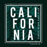Tipografía de la resaca de Los Ángeles, California para la impresión de la camiseta Hojas de palma tropicales textura, gráfico de libre illustration