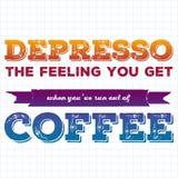 Tipografía de la taza de café de la cita Depresso Cita del estilo de la caligrafía Motivación de la promoción de la tienda Letras stock de ilustración