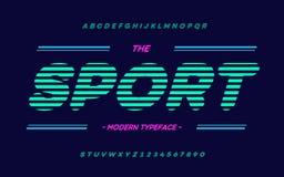 Tipografía de la tendencia de la tipografía del deporte del vector Estilo colorido moderno de la fuente para la camiseta ilustración del vector