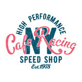 Tipografía de la tienda de la velocidad del café que compite con Imagenes de archivo