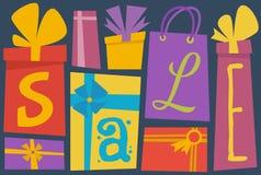 Tipografía de la venta con las cajas de regalo Fotografía de archivo