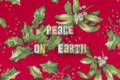 Tipografía de las karmas de la alegría de la Navidad de la tierra de la paz fotografía de archivo