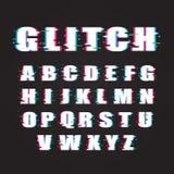 Tipografía de las letras alfabéticas del vector del efecto de la interferencia Foto de archivo