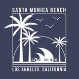 Tipografía de Los Ángeles, California para la camiseta Diseño del verano Gráfico de la camiseta con las palmas tropicales stock de ilustración