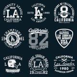 Tipografía de Los Ángeles, California Sistema de la impresión atlética para el diseño de la camiseta Gráficos para la ropa del de ilustración del vector