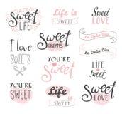 Tipografía de los dulces, de la vida y del amor ilustración del vector