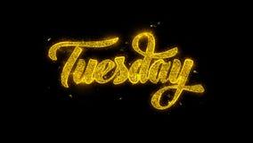 Tipografía de martes escrita con los fuegos artificiales de oro de las chispas de las partículas