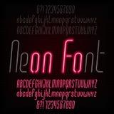 Tipografía de neón roja Ligero dé vuelta por intervalos Alfabeto oblicuo moderno libre illustration