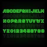 Tipografía de neón verde Ligero dé vuelta por intervalos stock de ilustración