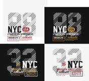 Tipografía de New York City Brooklyn del deporte atlético para la impresión de la camiseta Imagenes de archivo