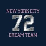 Tipografía de New York City, gráficos de la camiseta, equipo ideal Vector i Libre Illustration