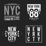 Tipografía de Nueva York, Brooklyn para la impresión de la camiseta Colección atlética de los remiendos para el gráfico de la cam Fotografía de archivo