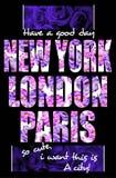 Tipografía de Nueva York Londres París, diseño de gráficos de la camiseta para las muchachas Imagenes de archivo