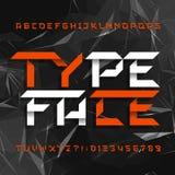 Tipografía decorativa del alfabeto Tipo geométrico letras y números en un fondo poligonal gris libre illustration