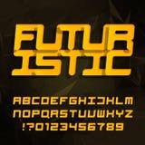 Tipografía decorativa futurista del alfabeto Tipo oblicuo letras y números en un fondo poligonal ilustración del vector